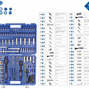 """172-teiliges Steckschlüssel-Set 1/4"""" (6,3 mm), 3/8"""" (10 mm), 1/2"""" ( 12,5 mm) zeitsparende Suche bei der richtigen Auswahl der Werkzeuge erleichtertes Anziehen und Lösen durch 2-Komponenten-Griff 2-Komponenten Umschaltknarren mit integriertem Rechts-/Linkslauf, Hebelumschaltung und Druckknopfauslösung Ordnung und Fixierung der Werkzeuge durch Klemmsicherung Jeweils nach DIN gefertigt Werkzeuge aus qualitativem Chrom-Vanadium-Stahl für besonders hohe Langlebigkeit matt verchromt Das 172-teilige BRILLIANT TOOLS Steckschlüssel-Satz BT023172 ist nach DIN gefertigt. Das Set ist mit Knarren und Zubehör für drei unterschiedliche Innenvierkant-Antriebe ausgestattet 1/4"""" (6,3 mm), 3/8"""" (10 mm) und 1/2"""" (12,5 mm). Dieses Set ist der praktische Allrounder rund ums Schrauben und Lösen. Das umfangreiche Set wird in einem praktischen Koffer mit Metallscharnieren und Verschlüssen mit klemmgesicherten Werkzeugen geliefert. Die Beschriftung im Koffer ermöglicht ein rasches Finden der passenden Einsätze oder Bits. Die besonders handschonenden Umschaltknarren werden per Hebelumschaltung auf Rechts- oder Linkslauf gestellt. Mit der Druckknopfauslösung können Sie schnell und komfortabel Ihre Stecknüsse und Verlängerungen sowohl lösen als auch aufstecken. Als besonderes Sicherheitsmerkmal verhindert die Druckknopfauslösung zudem ein ungewolltes Lösen einer Steck-Verbindung. Durch die Feinverzahnung mit 72 Zähnen und einem Rückschwenkwinkel von 5° können Sie auch in engsten Räumen schwierige Schraubfälle durchführen. Steckschlüsselverlängerungen und Kardangelenke unterstützen Sie dabei, an schwer zu erreichende Verschraubungen zu gelangen. Das Zubehör für alle 3 Knarrengrößen ist 13-teilig. Insgesamt gibt es 85 Stecknüsse, 30 Bit-Stecknüsse, 44 Bits in 2 Größen 5/16"""" (8 mm) und 1/4"""" (6,3 mm) sowie 7 Winkelschraubendreher. Lieferumfang: 1/4"""" 2-Komponenten Umschaltknarre feinverzahnt, 15 cm 1/4"""" Vierkant-Steckgriff, 15 cm 1/4"""" Steckschlüsselverlängerung 50 mm, 10 cm 1/4"""" Quergriff mit Gleits"""